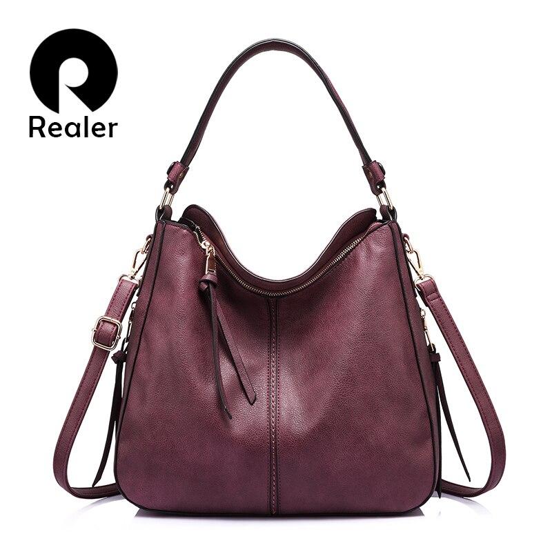 REALER бренд модная большая сумка женская через плечо, дизайнер сумочка на плечо высокого качества, дамская сумка хобо из искусственной кожи д...