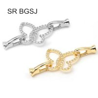 Free Shipping Micro Inlay Zircon Butterfly 925 Silver Necklace Hook Lobster Claw Clasp