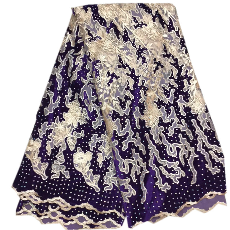 Purple Gold African Lace Fabric 2019 New High Quality French Velvet Lace Fabric With Stones Lace