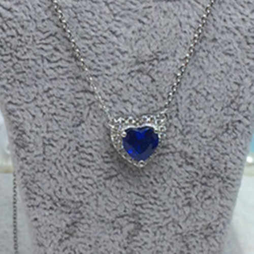 "2Ct 7*7 מ""מ לב צורת כחול יהלומי תליון מוצק 925 כסף סטרלינג שרשרת עם משלוח שרשרת חתונה תכשיטים"