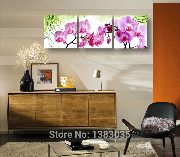 Hand Painted Wall Art Flower Pink Orchid Wall Decor Oil Painting ...