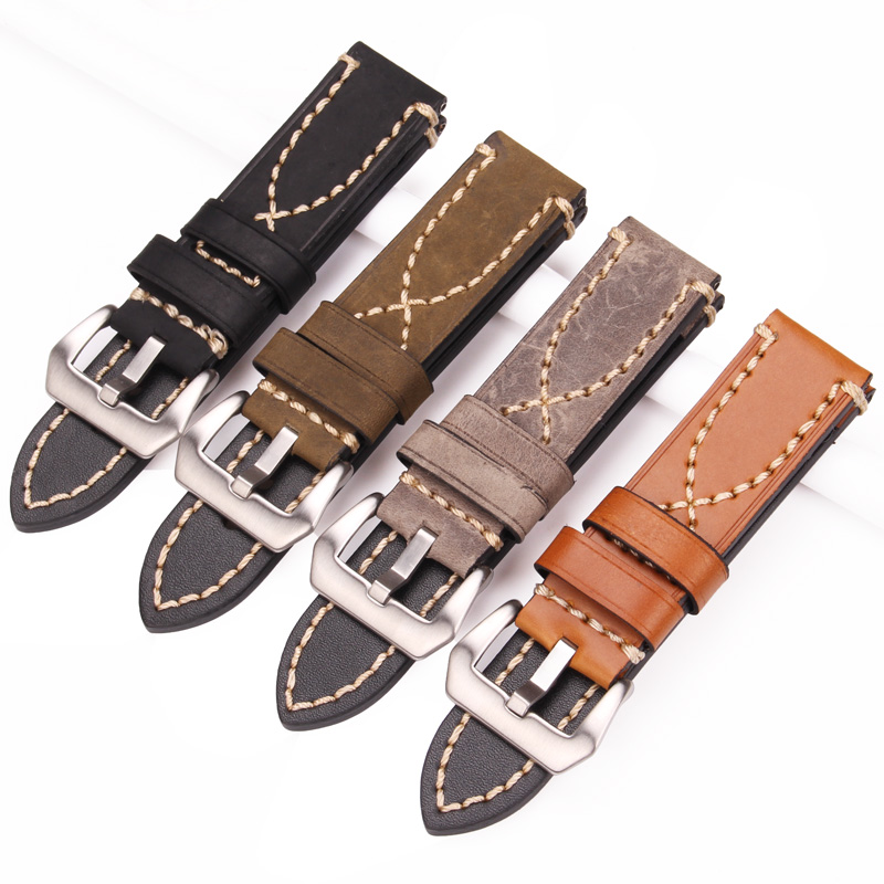 цена на HENGRC Genuine Leather Watch Band Bracelet Cowhide Men Strap Fashion Women 20 22 24mm Belt Steel Metal Pin Buckle For Pam111