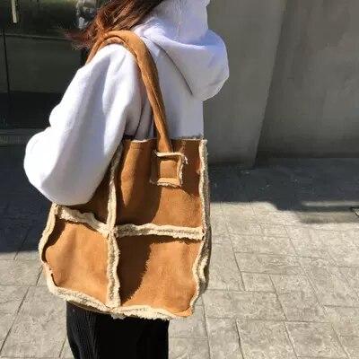 High quality suede lamb hair PU leather ladies fashion bag shoulder bag Messenger bag handbag large capacity ladies personality messenger bag