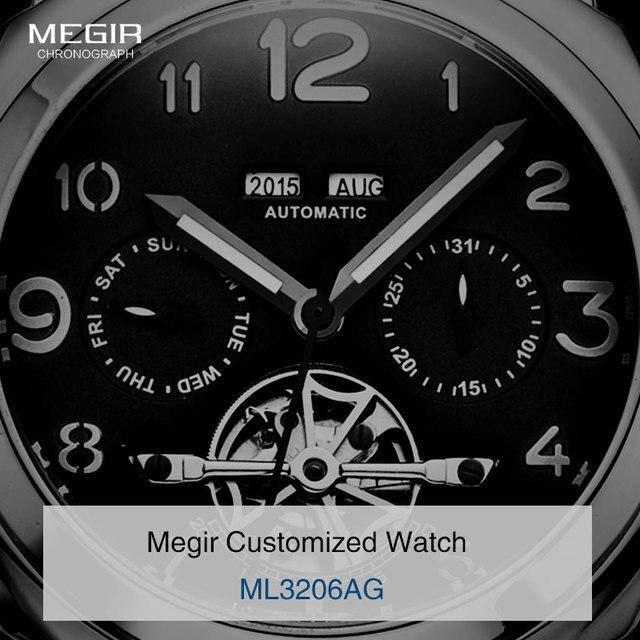 3f72fb72f7edd Livraison gratuite Megir 3206 montre mécanique lumineuse hommes véritable  bracelet en cuir Nubuck étanche montre-