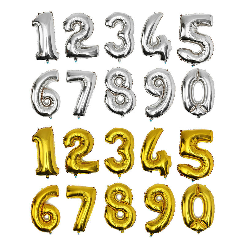 32inch Number foil balloons blanco gold silver big ballon number 1 <font><b>2</b></font> <font><b>3</b></font> 4 <font><b>5</b></font> 6 7 8 9 <font><b>0</b></font> optional age birthday party image