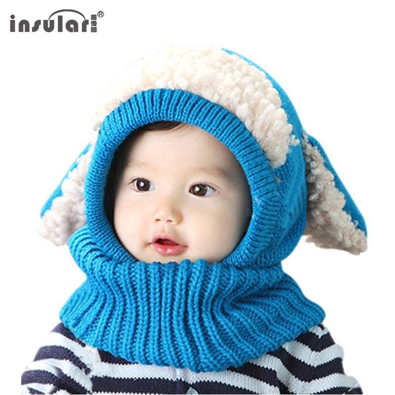 insular Brand baby hat scarf baby winter cap Cute Rabbit Ear knit beanie bonnet warm hats for children neck photography props