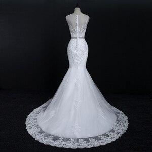 Image 2 - Fansmile Neue Vestido De Noiva Weiß Spitze Meerjungfrau Hochzeit Kleid 2020 Zug Plus Größe Angepasst Hochzeit Kleid Braut Kleid FSM 580M