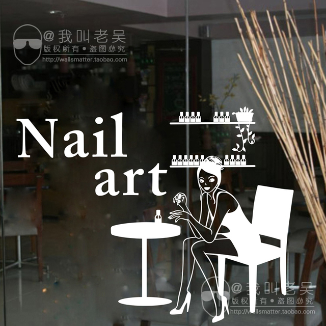 Beautiful DCTAL Nail Salon Wall Stickers, Nail Salon Wall Decals For Glass Door Mural  Removable Wall