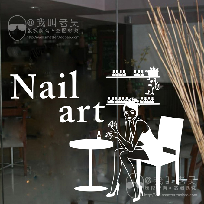 DCTAL Nail Salon Wall Stickers, Nail Salon Wall Decals For Glass Door Mural Removable Wall Sticker ...