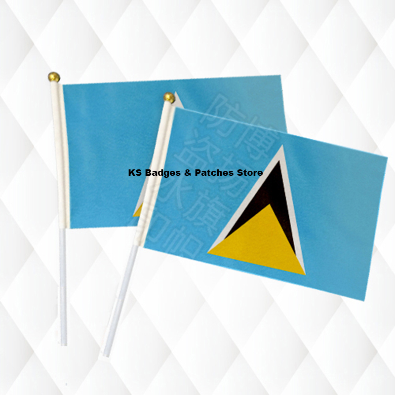 Saint Lucia Fabric Flags 14*21CM with Plastic Hand Held KS-0160