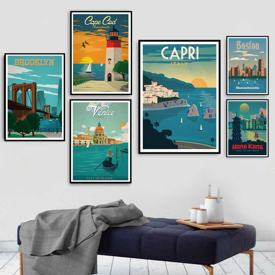 Poster Prints New York London Amsterdam Venice Travel Cities Landscape Art Canvas Painting Wall Pictures Living Room Home Decor
