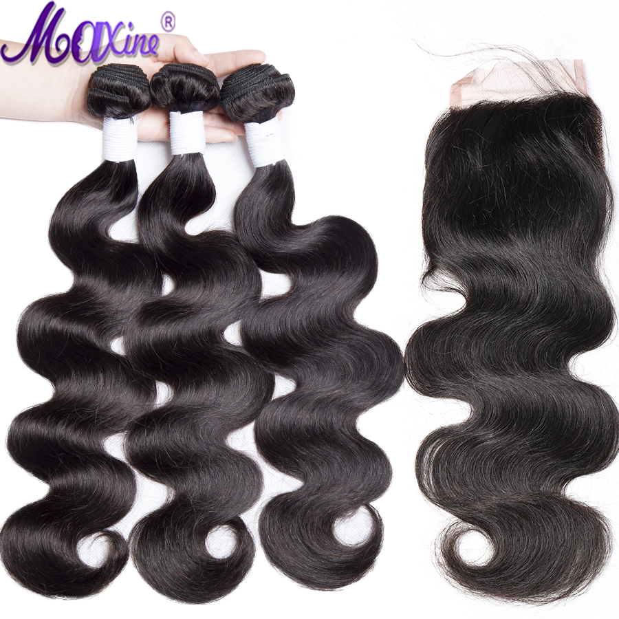 Maxine Hair Peruvian Body Wave Bundles With Closure 4*4 Lace Closure Brazilian Hair Weave Bundles With Closure Human Remy Hair