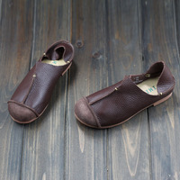 Hand Made Sowing Womens Flats Shoes Genuine Leather Round Toe Slip On Loafers Z105