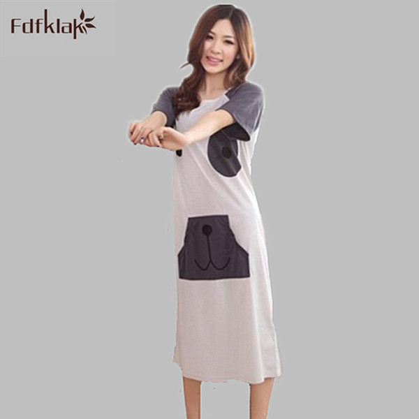 Fdfklak 2017 New Long Nightgowns For Women Cartoon Printed Nightgown Womens  Sleepwear Cotton Loose Sleepshirts Nightshirt E0833-in Nightgowns    Sleepshirts ... 7e1eedcd4163