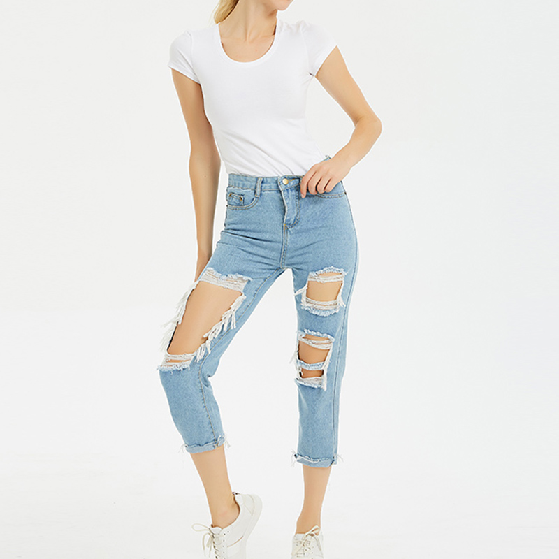 Jeans   Woman Mid Waist Ankle-Length Loose Straight Streetwear Ripped Hole   Jeans   for Women Plus Size 3XL 4XL 5XL