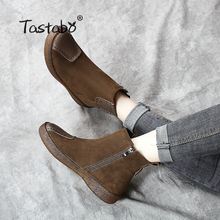 Tastabo Women Cow Suede Leather Shoes Flats with Martin Winter Boots Women Vintage Retro Snow Ankle Boots