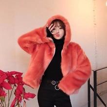 Elegante cappuccio lungo peloso Shaggy Faux Fox Fur giacche corte inverno donna manica allentata cappotto in pelliccia sintetica allentata capispalla arancione