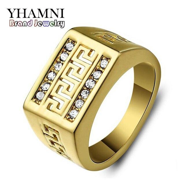 Yhamni Brand Clic Wedding Rings For Men Fashion Jewelry Real 24k Gold Filled Rhinestone Cz Diamant