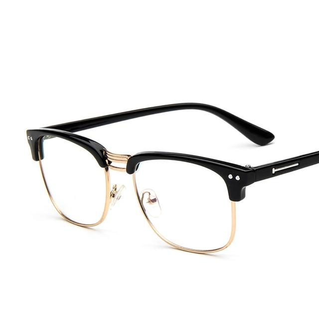 mode 2017 marque m tal demi cadre lunettes vintage effacer optique lunettes cadre femmes hommes. Black Bedroom Furniture Sets. Home Design Ideas