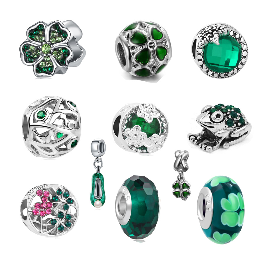 High Quality Silver Plated Bead Charm European Green Style Flowers Charms Bead Fit Women Pandora Bracelet & Bangle Diy Jewelry Sale Price