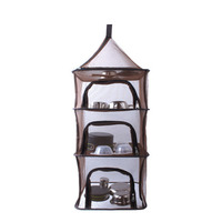 4 Layers Drying Rack Folding Wire Mesh Hanging Net Basket Tableware Vegetable Fish Dishes Dryer Storage