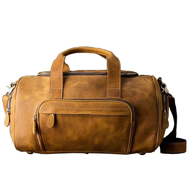 AETOO D'origine grand-capacité fou cheval en cuir sac mâle peau de vache rétro voyage bagages sac à bandoulière en cuir épaule hommes sac