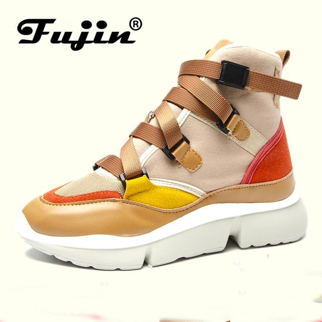 Фуцзинь повседневная обувь женская весна осень пряжка обуви на резиновой подошве ремень высокие низкие женские модные кроссовки обувь на платформе