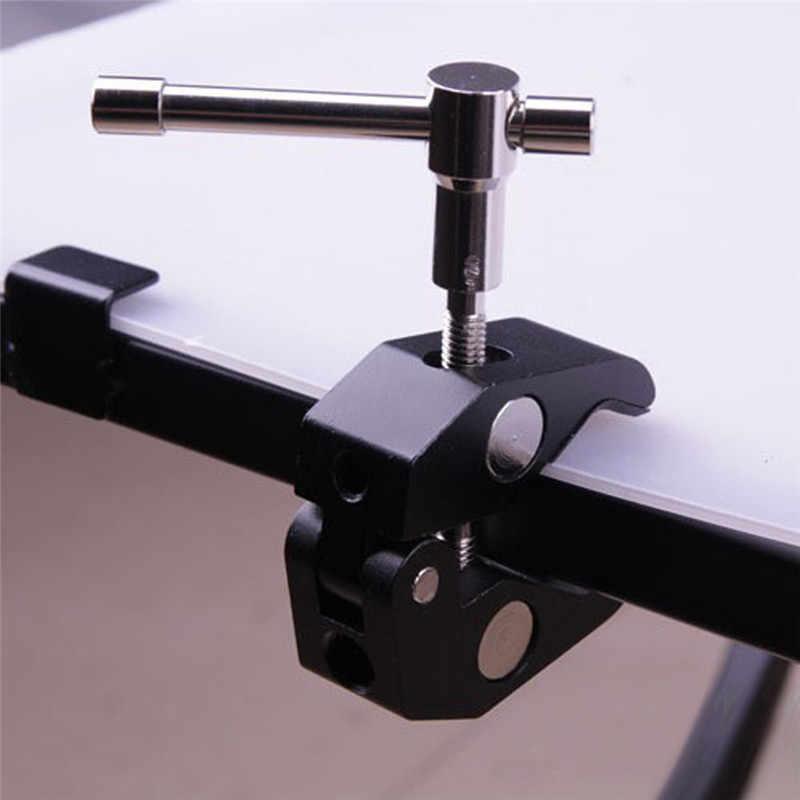 Liga de alumínio braço giratório garra caranguejo pinça alicate clip bracket para câmera estúdio flash luz suporte boom tripé monopé