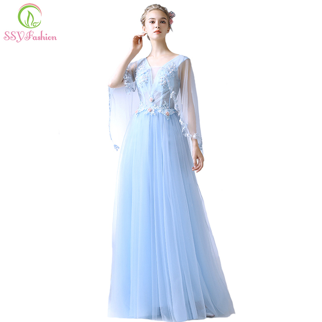SSYFashion New Light Blue Evening Dress The Bride Elegant Banquet Lace  Flower with Shawl Floor-length Prom Party Formal Gown e2af4b27b106
