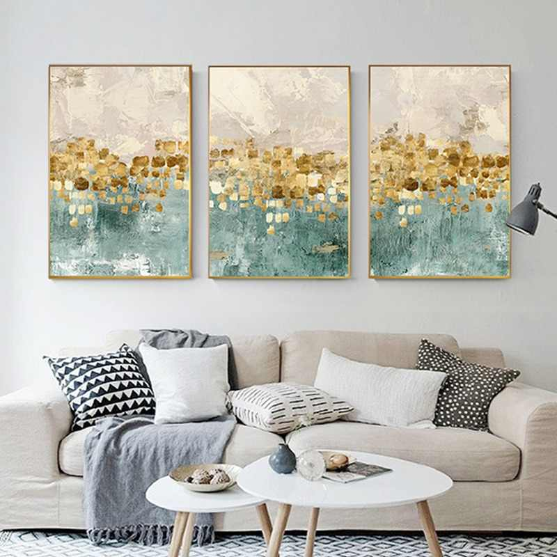 Abstract Golden Coins Star Canvas Painting Tiffany Blue Print n Poster Cuadros Decoracion Salon Fashion Wall Art Home Decoration