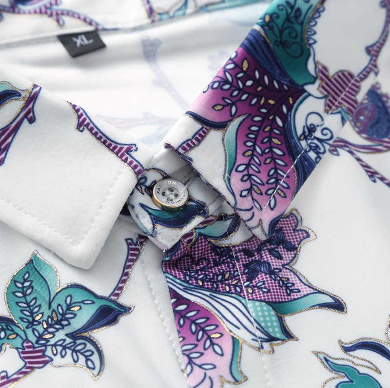 M-7XL плюс размер мужские рубашки QUANBO брендовая одежда 2018 Новое поступление летняя рубашка с коротким рукавом с цветочным рисунком Повседневная гавайская рубашка