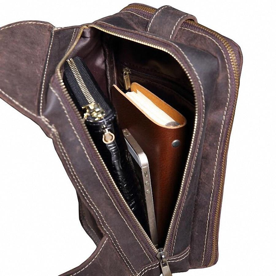 Männer Brust Pack Einzigen Schultergurt Zurück Taschen Echt Leder Reise Männer Umhängetaschen Vintage Echtem Leder Brust Tasche LI-2160