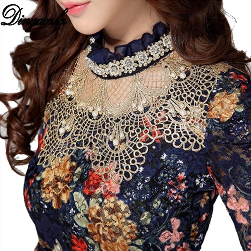 Dingaozlz Women's Lace Shirt Female Lace Blouses Long-sleeve Hollow Floral Lace Tops Slim Elegant Beaded Gauze Chiffon Shirts
