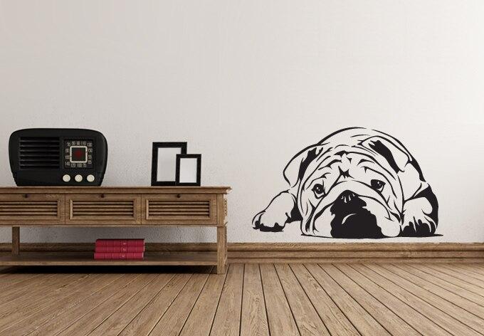 Slaapkamer Muur Quotes : Leuke lui hond liggend op de vloer muursticker quotes vinyl