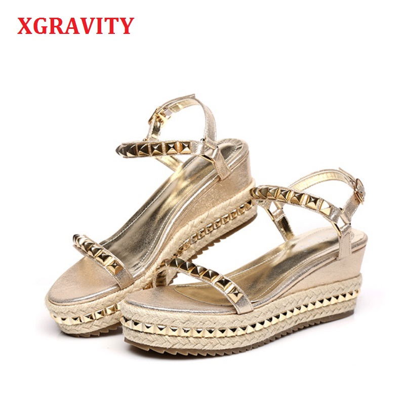 XGRAVITY 2019 Hot Sales Summer Lady Fashion High Heel Wedge Sandals Elegant Rivets Design Lady Fashion Wedges Ladies Shoes 285XGRAVITY 2019 Hot Sales Summer Lady Fashion High Heel Wedge Sandals Elegant Rivets Design Lady Fashion Wedges Ladies Shoes 285