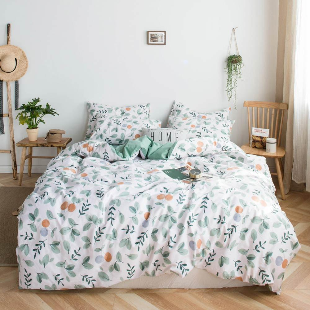 2019 Green Leaves Orange Fruit Bed Cover Duvet Cover Set Cotton Bedding Set Bedlinens Twin Queen King Flat Sheet Fitted Sheet