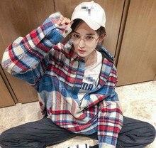 Spring 2019 New Star Gulina Za Ouyang Nana The Same Pattern Tweed Shirt Jacket Plaid Women Turn-down Collar Print Spliced