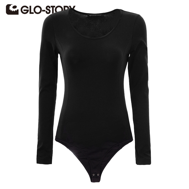 GLO-STORY Marca Mulheres Magras Jumpsuits Bodysuits 2016 Chic Sexy Manga Comprida Bodysuits Mulheres Macacão WCX-3025
