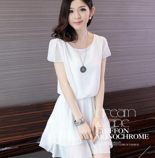 Kpop fashion for girls casual white dress