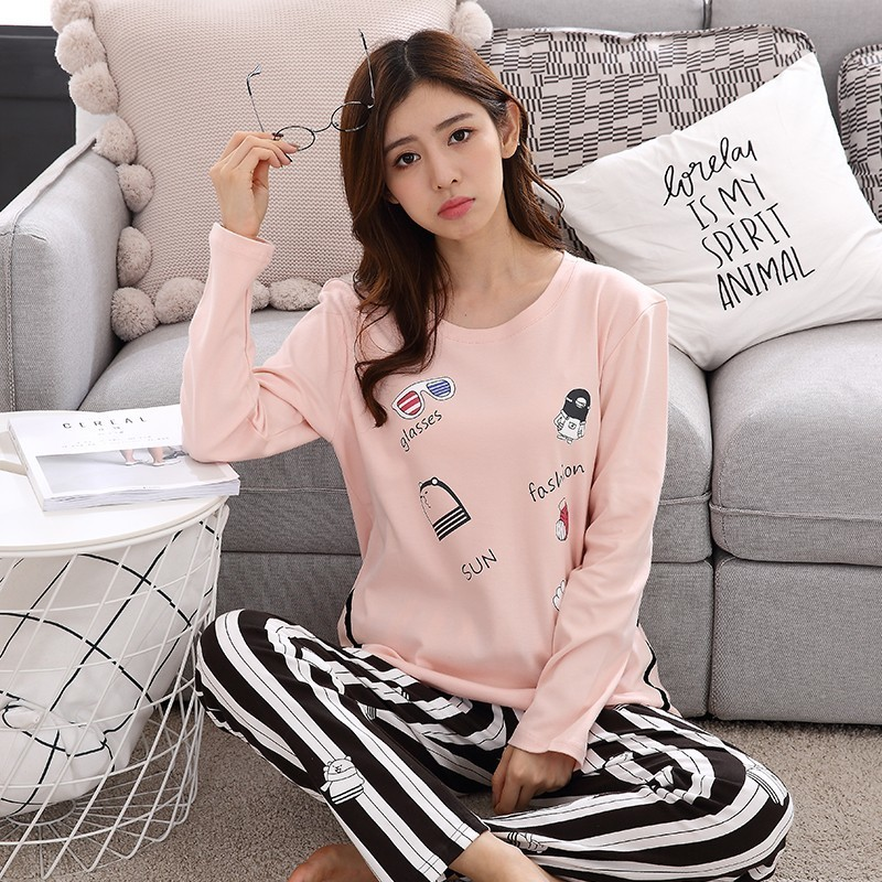 ede36a3973 New Arrivals 2018 Autumn   Spring Cotton Pyjamas Women Girl Pajama Sets  Cartoon Sleepwear Pajamas For Women Long Sleev Tracksuit-in Pajama Sets  from ...