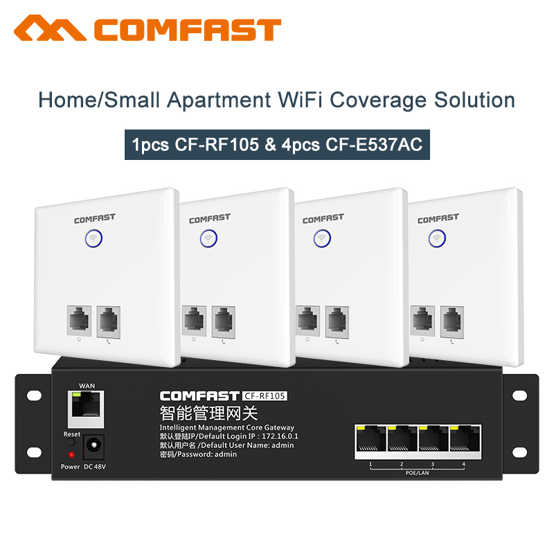 Mini AC management Router + 4*750Mbps in Wall WiFi Access Point 2.4G+5G Wireless AP for Hotel WiFi Project Support AC Management недорго, оригинальная цена