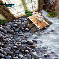 Beibehang Large Custom Wallpaper Wall Murals River Stone Bathroom 3D Waterproof Thick Wearable Floor Tiles
