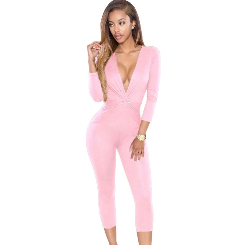 Aliexpress.com : Buy Light pink jumpsuit 2016 sexy knotted ...