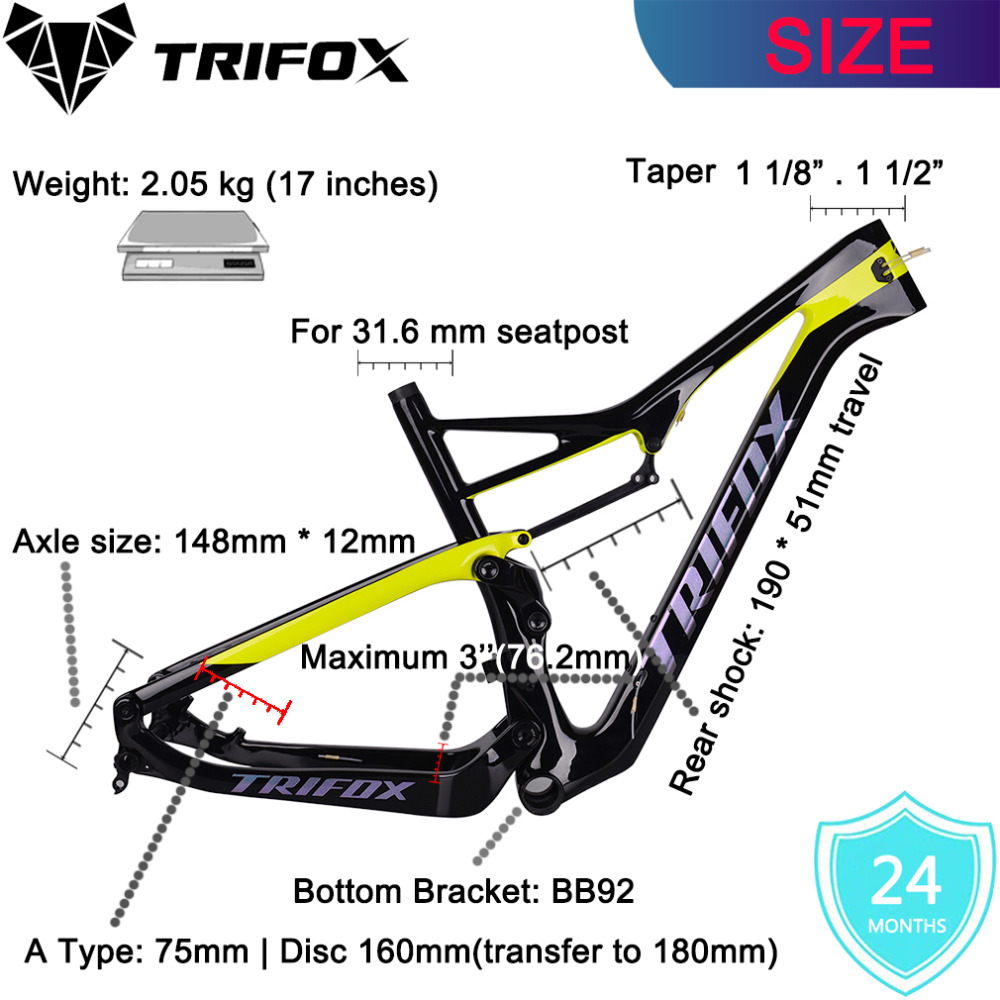 2019 Carbon Suspension MTB Bike Frame 29er Cuadro Carbono CarreteraMountain Quadro Carbono Bicycle  Suspension Frame 148*12mm