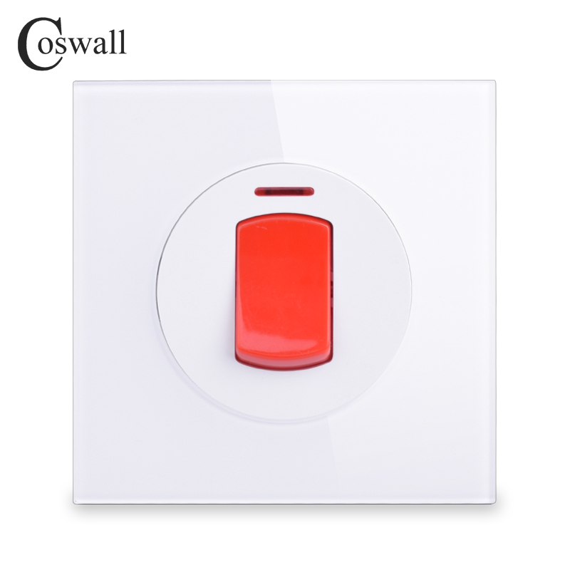 цена на Coswall 20A Switch With Neon Crystal Glass Panel High Power Kitchen Water Heater Push Button Wall Air Condition Switch