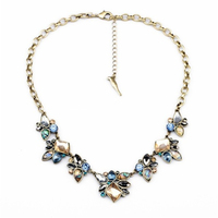 Free Shipping Fashion Accessories Manufacturer Direct Selling Ms Alloy Crystal Geometric Necklace Restoring Ancient Ways