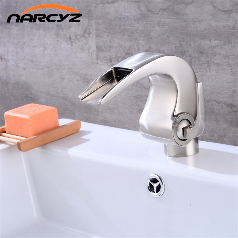 Free shipping Nickel bathroom Waterfall faucet Crane Nicke Bathroom basin Faucet Bathroom Basin Mixer Tap with Hot and Cold XT-4Free shipping Nickel bathroom Waterfall faucet Crane Nicke Bathroom basin Faucet Bathroom Basin Mixer Tap with Hot and Cold XT-4