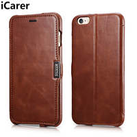iCarer For iPhone 6S Plus Case Cover Luxury Genuine Leather Protective Magnetic Armor Flip Phone Case for iPhone 6 Plus Cover