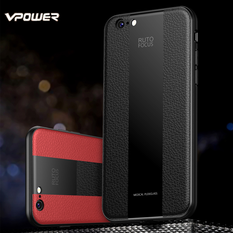 Leather Case for iPhone 6 6S 7 8 Plus Vpower Luxury Plexiglass+PU Splice Phone Cases Apple Back Covers