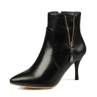 High Thin Heels Women Boots Fashion Ankle Boots Sequined Pointed Toe Knight Boots Women Shoes Solid